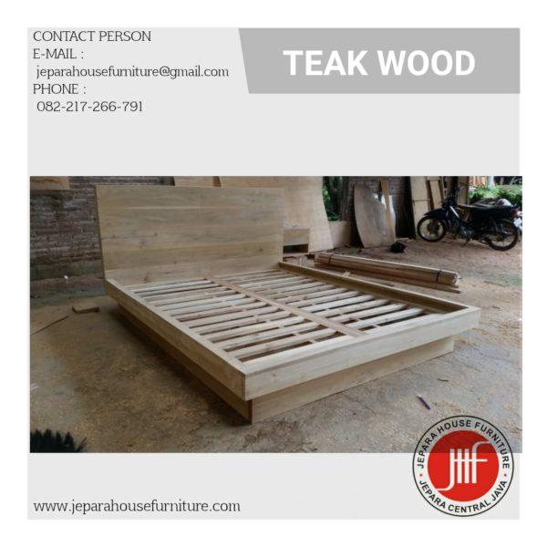 teak wood minimalist bedframe