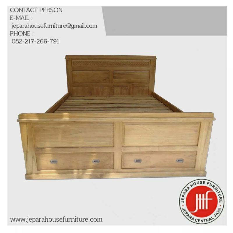 ukuran tempat tidur kayu jati murah