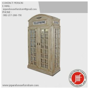 Lemari Pajangan Rustic Kayu Jati Model Telephone