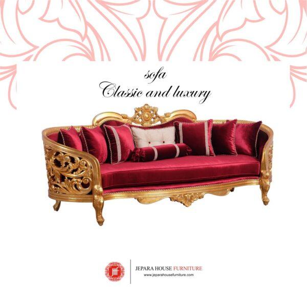 set sofa tamu klasik mewah 3 seater