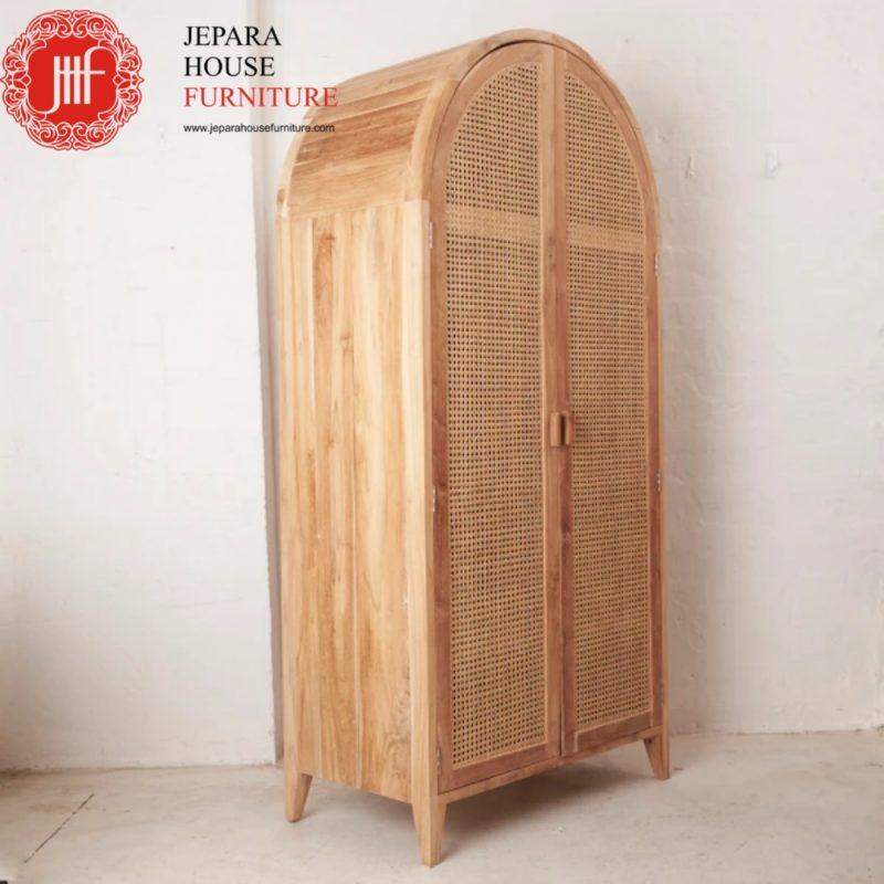 lemari jati anyaman rotan furniture terbaru 2021