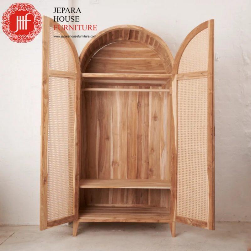 lemari jati kombinasi rotan furniture terbaru 2021