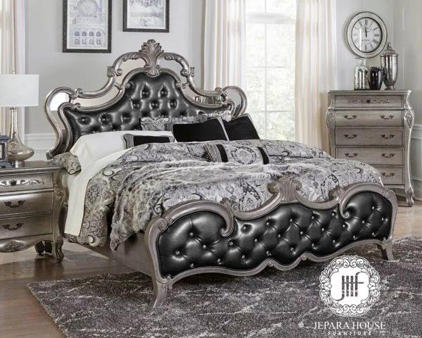 Tempat tidur mewah jepara ukir silver