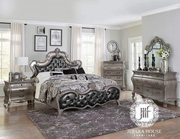 Tempat tidur mewah jepara ukir silver kombinasi